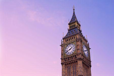 purpule: Tower and clock in London.  Copy space.