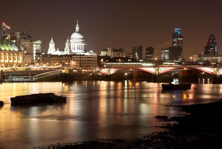 Cityscape at nighttime  in London.