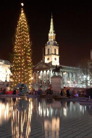 Nightscene  in London. Movement on people Stock Photo - 345210