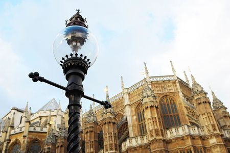 Westminster Central hall, London.  shallow DOF - streetlight in focus, building out of focus. Stock Photo
