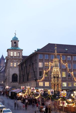 Flea Market at night in Neurenburg.  Movement on people walking.  Copy space. Stock Photo - 350124