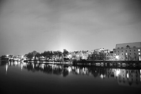 regensburg: Night scene, lights and buildings in Regensburg