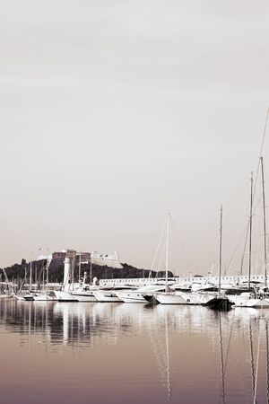 duo tone: A harbor  in Antibes, France.  Duo tone. Copy space.