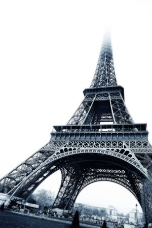 The Eiffel Tower in Paris, France. Black and white, digital artwork - copy space. photo