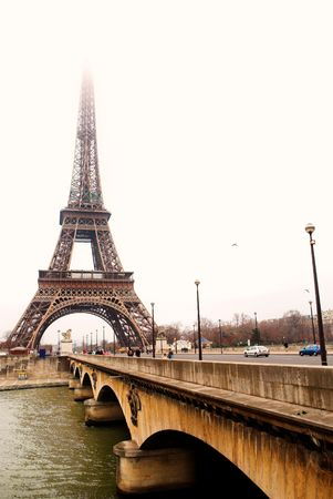 The Eiffel tower in Paris, France - Across from the River Seine - High Key Stock Photo - 376899