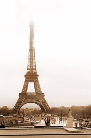 The Eiffel Tower in Paris, France.  Sepia tone. Stock Photo - 376919