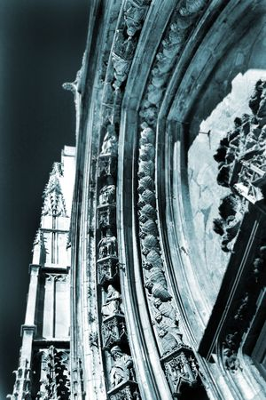 The carved Marble Arch of Cathedrale Sainte Sauveur in Aix-en-Provence, France – Statues of the Saints.  Blue tone, Photographic Technique. photo