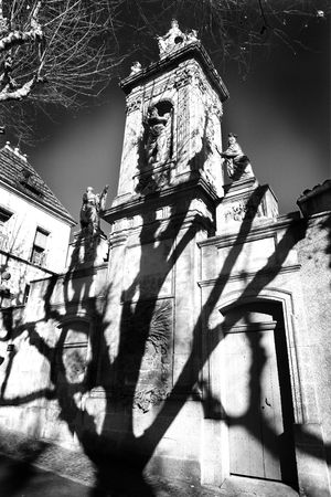 infra red: A shade of a tree on a wall of a old building in Aix-en-provence, France.  The revolutionary architectural monument: The mausoleum of Joseph Sec. Black and white - Infra Red Photographic effect Stock Photo