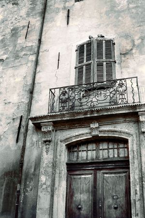 Door of an old building in Aix-en-provence, France.  Black and White - copy space. photo