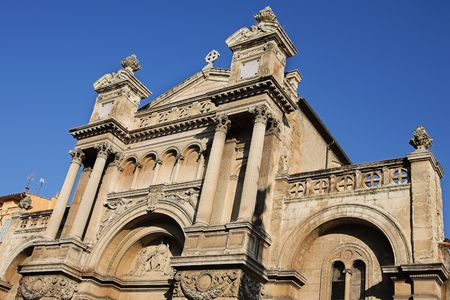 madeleine: The church of the Madeleine in Aix-en-Provence, France.  Copy space.