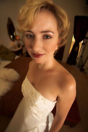 emaciated: A really thin bride - Lose weight for your wedding day (comic shot, wide angle lens used)