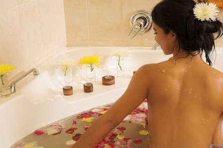 woman in a bath.  Copy space. Stock Photo - 397251