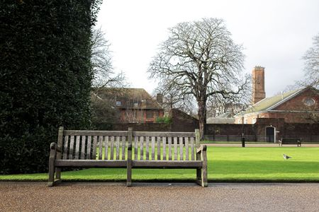 Bench in a park at wintertime. photo