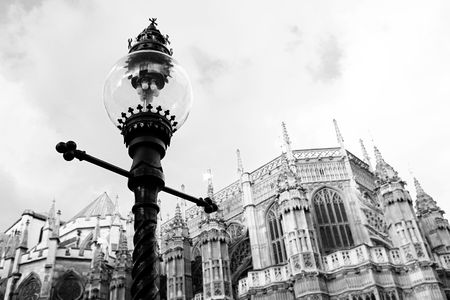 Westminster Central hall, London.  shallow DOF - streetlight in focus, building out of focus.  Black and white photograph
