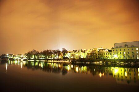 Night scene, lights and buildings in Regensburg Stock Photo - 402969