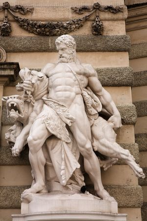 The statues of Hercules outside the Hoffberg Palace