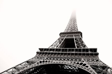 The Eiffel Tower in Paris, France.  Black and white.  Copy space. Stock Photo - 442155