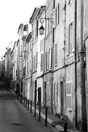 backstreet: A backstreet in Aix-en-Provence, France - Black and White (High Key)