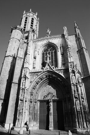 The Cathedrale Sainte Sauveur in Aix-en-Provence, France - Blac-and-white, High Key photo
