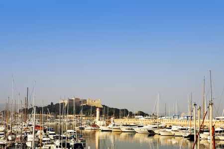 buoys: A harbor  in Antibes, France.    Copy space. Stock Photo