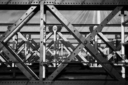 girders: The Charring cross railway bridge girders - Black and White
