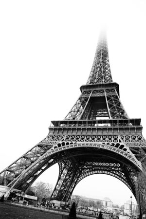 The Eiffel Tower in Paris, France. Black and white - copy space. photo