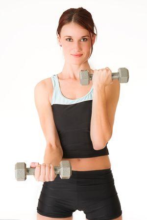 sports form: Una donna in palestra vestiti, azienda pesi.