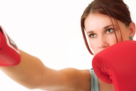 A woman in gym clothes, with boxing gloves Stock Photo - 488227