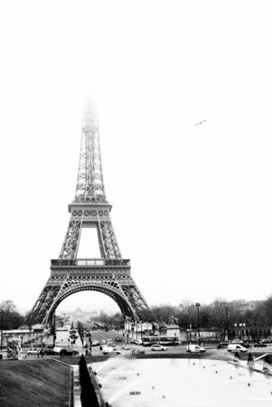 The Eiffel Tower in Paris, France. Black and white. Copy space. Stock Photo - 488182