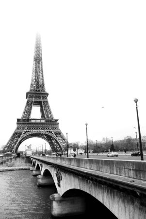 The Eiffel Tower in Paris, France.Black and white, Copy space. Stock Photo - 488181