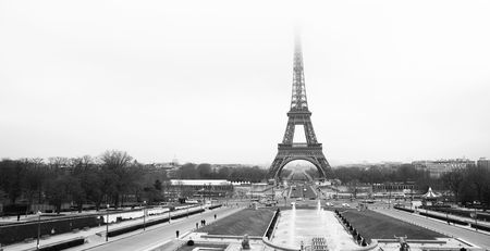 The Eiffel Tower in Paris, France. Black and white. Copy\ space.