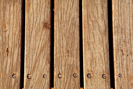decking: Old brown decking Stock Photo