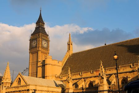The buildings of the House of Parliament and Big Ben - Sunset photo
