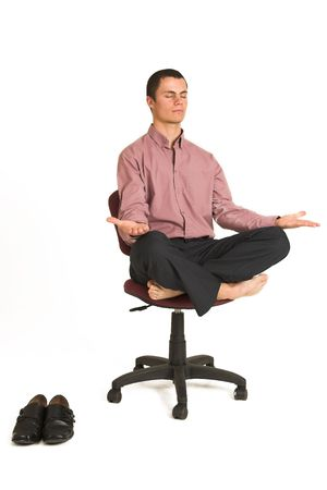 destress: Business man fighting tension  relaxing  meditating Stock Photo