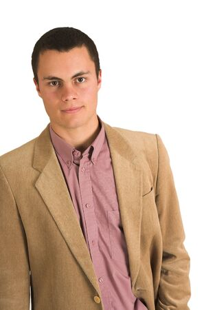 Businessman in a pink shirt and camel coloured jacket. photo