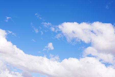 Blue sky and white puffy clouds - For use as fill in backgrounds in designs and photo retouching Stock Photo - 526611