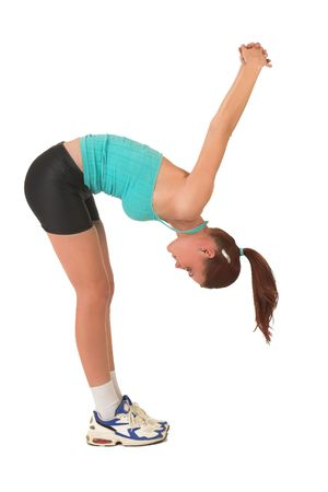 bending over: Woman stretching, bending over.