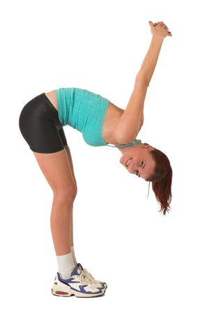 bending over: Woman bending over, stretching. Stock Photo