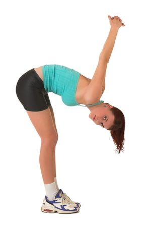 Woman bending over, stretching. photo