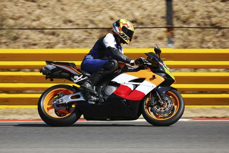 High speed Superbike on the circuit – Kyalami, South Africa – Movement on elements of the image. Trackday (all Logos and Trademarks removed) Stock Photo - 526589