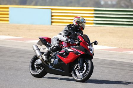 High speed Superbike on the circuit – Kyalami, South Africa – Movement on elements of the image. Trackday (all Logos and Trademarks removed) Stock Photo - 526547