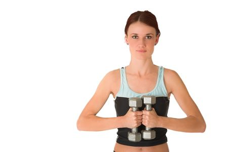Woman holding weights. photo