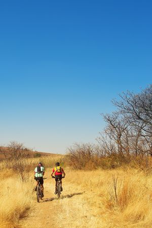 mountainbike: A couple of mountain bikers - Copy Space