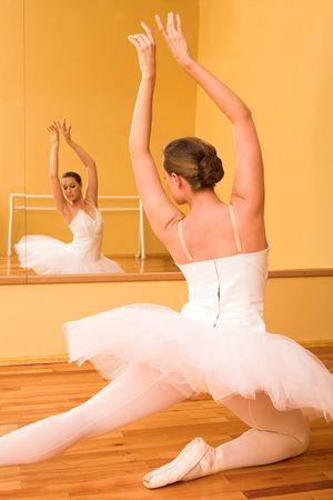 ballet bar: Ballerina dancing in front of a mirror