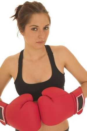 Brunette with red boxing gloves photo