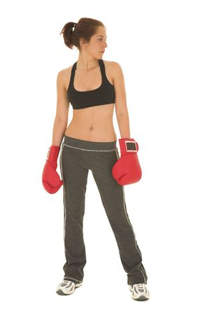 female form: Brunette with red boxing gloves