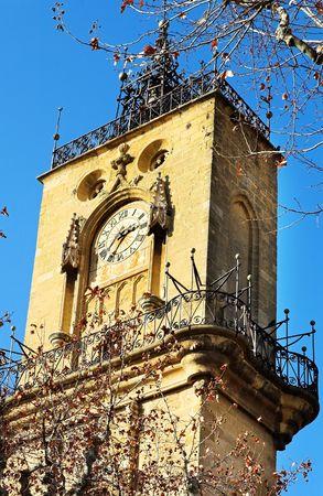 ville: The clocktower of Hotel de Ville in Aix-en-Provence, France