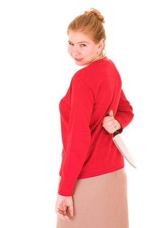 Aggravated wife with knife behind her back Stock Photo - 591458