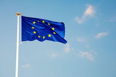 flagpoles: The blue European Union flag
