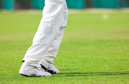 cricket field: Running Cricketer playing in the late afternoon Stock Photo